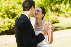 Newlywed kissing while toasting champagne flutes at park Royalty Free Stock Images