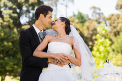 Newlywed about to kiss besides wedding cake at park Stock Images