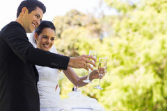 Newlywed toasting champagne flutes besides cake at park Royalty Free Stock Photo
