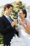 Newlywed toasting champagne flutes besides cake at park Stock Photo