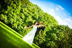 Newlywed wedding couple in summer Royalty Free Stock Photo