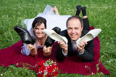 Newlywed youple having fun Royalty Free Stock Photography