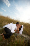 Newlywedds couple portrait (bride and groom) Stock Photos