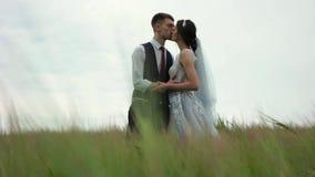 Newlyweds σε έναν πράσινο τομέα φιλμ μικρού μήκους