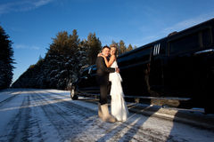 The newlyweds. Bride and groom embracing in front of limousine royalty free stock photos