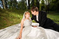Newlyweds alla natura Immagini Stock Libere da Diritti