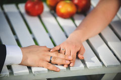 Newlyweds At Table Royalty Free Stock Photo