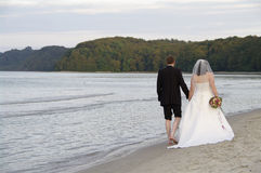 Newlyweds at the beach Royalty Free Stock Image