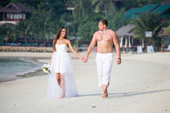 Newlyweds on the beach Royalty Free Stock Photos
