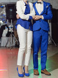 Newlyweds in Blue and White Suits Stock Photos