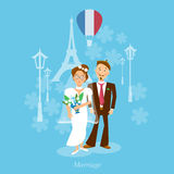 Newlyweds bride and groom honeymoon trip. Vector illustration stock illustration
