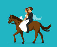 Newlyweds, bride and groom riding horse on wedding day vector illustration. Newlyweds, bride and groom riding horse on wedding day Royalty Free Stock Photos