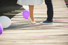 Newlyweds on Bridge Royalty Free Stock Photos