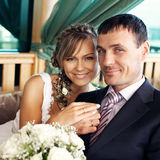 Newlyweds in cafe Royalty Free Stock Images