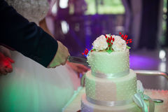Newlyweds carving a delicious tiered white wedding cake decorate Royalty Free Stock Images