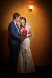 Newlyweds in the classic interior Royalty Free Stock Photography