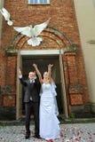 Newlyweds com pombas Foto de Stock