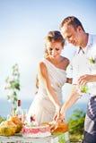 Newlyweds couple. Newlyweds cutting the wedding cake (soft focus on the eyes of bride and groom Stock Images