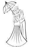 Newlyweds. Couple with umbrella. Royalty Free Stock Photos