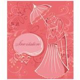 Newlyweds. Couple with umbrella. Wedding invitation. Stock Photos