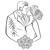 Newlyweds. Couple with wedding bouquet. Stock Images