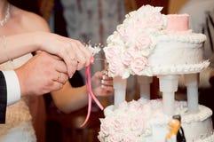 Newlyweds cutting cake Stock Photo
