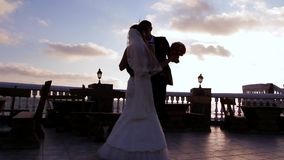 Newlyweds Dancing stock footage