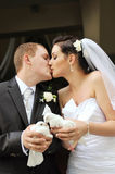 Newlyweds with doves. Newlyweds holding white doves in their hands stock images