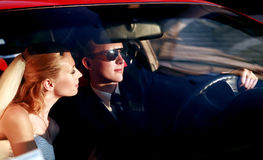 Newlyweds driving stock photos