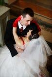Newlyweds embraces Royalty Free Stock Photography