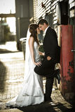 Newlyweds embracing against a red box Royalty Free Stock Images