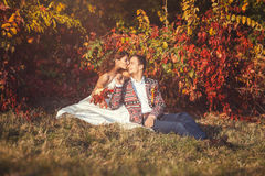 Newlyweds embracing sitting on grass near the tree. Newlyweds embracing sitting on the grass near the tree in the autumn forest, bride kisses groom Royalty Free Stock Images