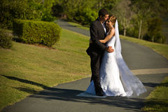Newlyweds embracing on a winding path Royalty Free Stock Photos