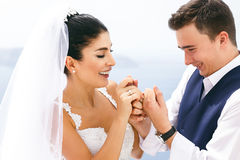 Newlyweds exchanged wedding rings Royalty Free Stock Photography