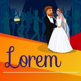 Newlyweds First Dance Vector Banner with Lettering royalty free illustration