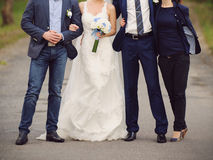 Newlyweds with Friends Royalty Free Stock Photo