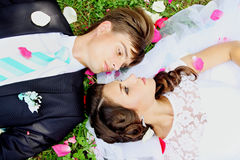 Newlyweds on grass, top view Stock Photos