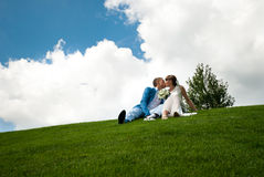 Newlyweds on a green lawn of background the sky Stock Images