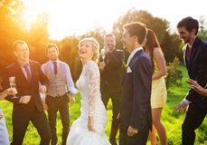 Newlyweds with guest on their garden party Stock Image
