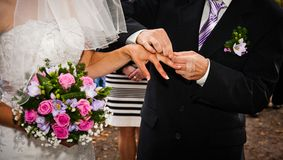 Newlyweds hands Stock Photo
