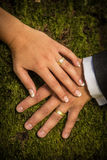 Newlyweds hands with rings Royalty Free Stock Image