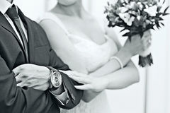 Newlyweds hands Royalty Free Stock Photo