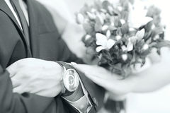 Newlyweds hands Royalty Free Stock Images