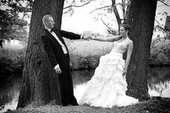 Newlyweds hold hands Royalty Free Stock Photo
