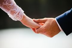 The newlyweds hold hands. Couple holding hands Royalty Free Stock Image