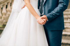 The newlyweds hold hands. Couple holding hands. Wedding in Monte Royalty Free Stock Images