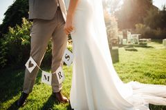 Newlyweds hold hands and hold a paper garland.  Stock Image