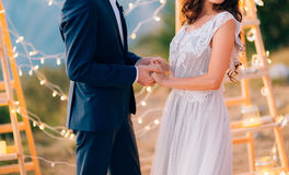 The newlyweds hold hands at the wedding ceremony. Couple holding Stock Image