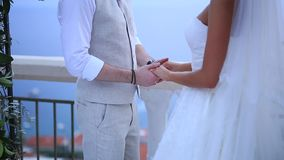 The newlyweds hold hands at the wedding ceremony. Couple holding. Hands. Wedding in Montenegro stock video
