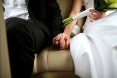 Newlyweds holding their hands Stock Images